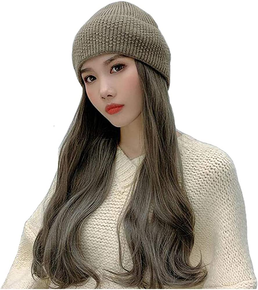 Women/'s Knit Beanie Cap with Attached Hair Mixed Braids with Beads and Feathers