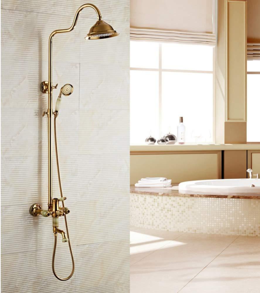 GZF Dusche-Hahn-Satz an der Wand befestigter antiker Rosen-Goldener Badezimmer-Hahn mit Messing, großer Wasserfall-Duschkopf,Gold