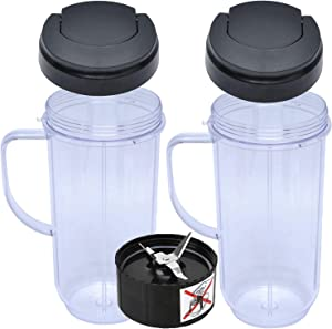 22 Oz Blender Cup compatible with Magic Bullet 250W MB1001 Blenders,Cross Blade Replacement with Flip Top To-Go Lid