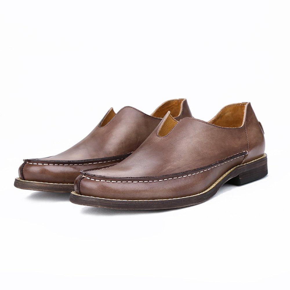 GTYMFH Frühling Casual Herrenschuhe Leder Echtes Leder Herrenschuhe Atmungsaktiv Liebesschuhe Einzelne Schuhe Vintage Herren Lederschuhe e00509
