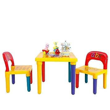 COSTWAY Juego de 1 Mesa y 2 Sillas para Niños Escritorio Asiento para Infantil Mueble para Juguete Dormitorio: Amazon.es: Bebé