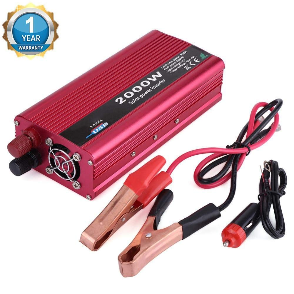 Qiilu 2000W Car Power Inverter DC 12V to 110V AC Converter with USB Charger Adapter
