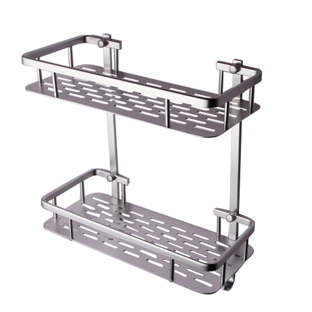 Onkuey Bathroom Aluminum Storage Shelf Basket with Hooks Wall Mounted Shower Caddy Towel Bar, Rectangular 2-Tier