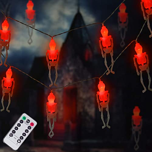 Ghost Skeleton Lights Halloween String Lights, 15 LED Battery-Powered Remote-Control Halloween Decoration for Outdoor, Indoor, Garden, Yard, Tree, Party Red