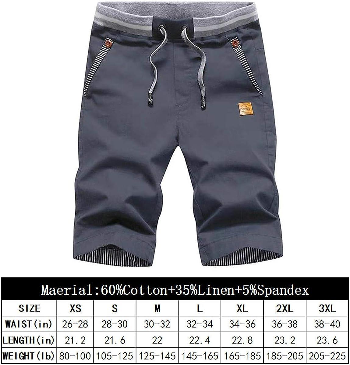 Tansozer Mens Shorts Casual Classic Fit Drawstring Summer Beach Shorts with Elastic Waist and Pockets