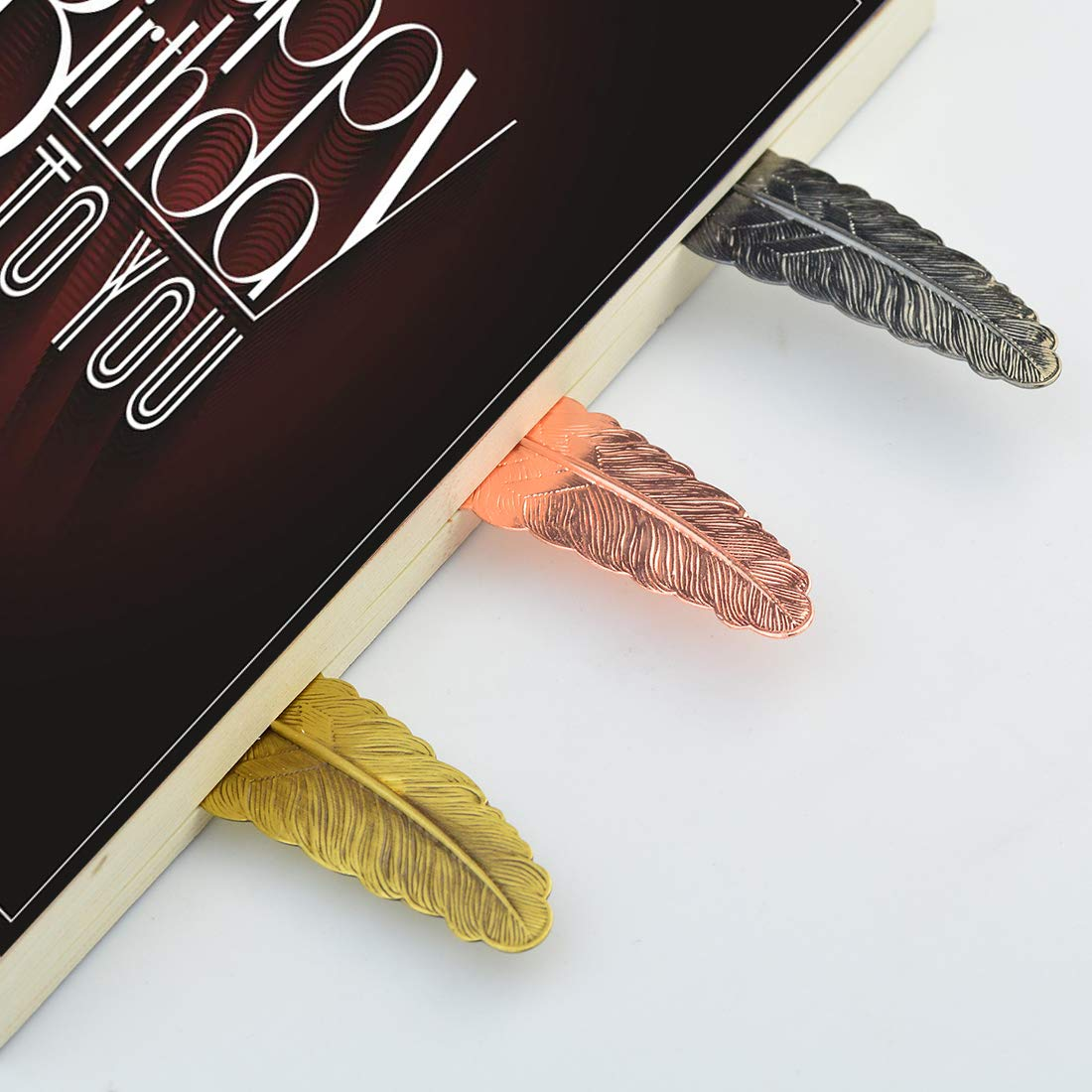 Yolyoo 10pcs Feather Bookmarks Vintage Feather Metal Bookmarks Classical Assorted Feather Shaped Bookmarks for Adults&Kids&Book Collectors Lovers