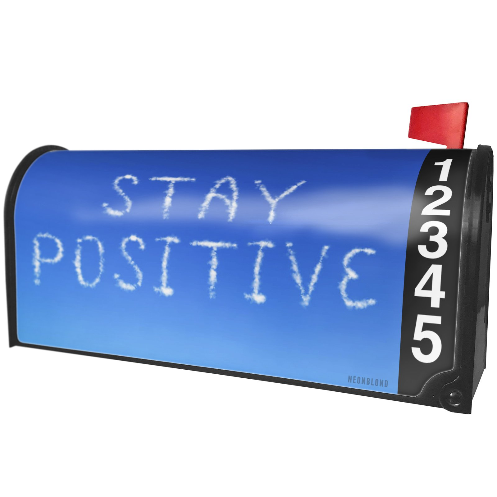 NEONBLOND Stay Positive Clouds Fresh Air Magnetic Mailbox Cover Custom Numbers