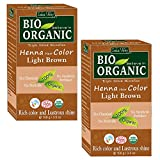 Indus Valley BIO Organic 100% Natural & Chemical Free Light Brown Henna Hair Color For Grey Hairs-100gm- Twin Pack