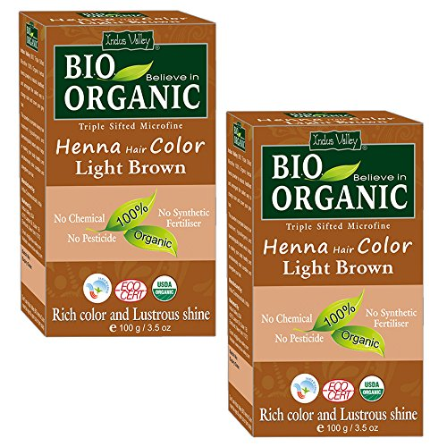 Indus Valley BIO Organic 100% Natural & Chemical Free Light Brown Henna Hair Color For Grey Hairs-100gm- Twin Pack by Indus Valley