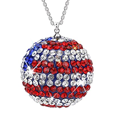 SAVORI Car Rear View Mirror Ornament Hanging Lucky Ball Christmas Crystal Pendant Bling Car Accessories for Women Rhinestone Charm Auto Decoration (Blue Red White): Home & Kitchen