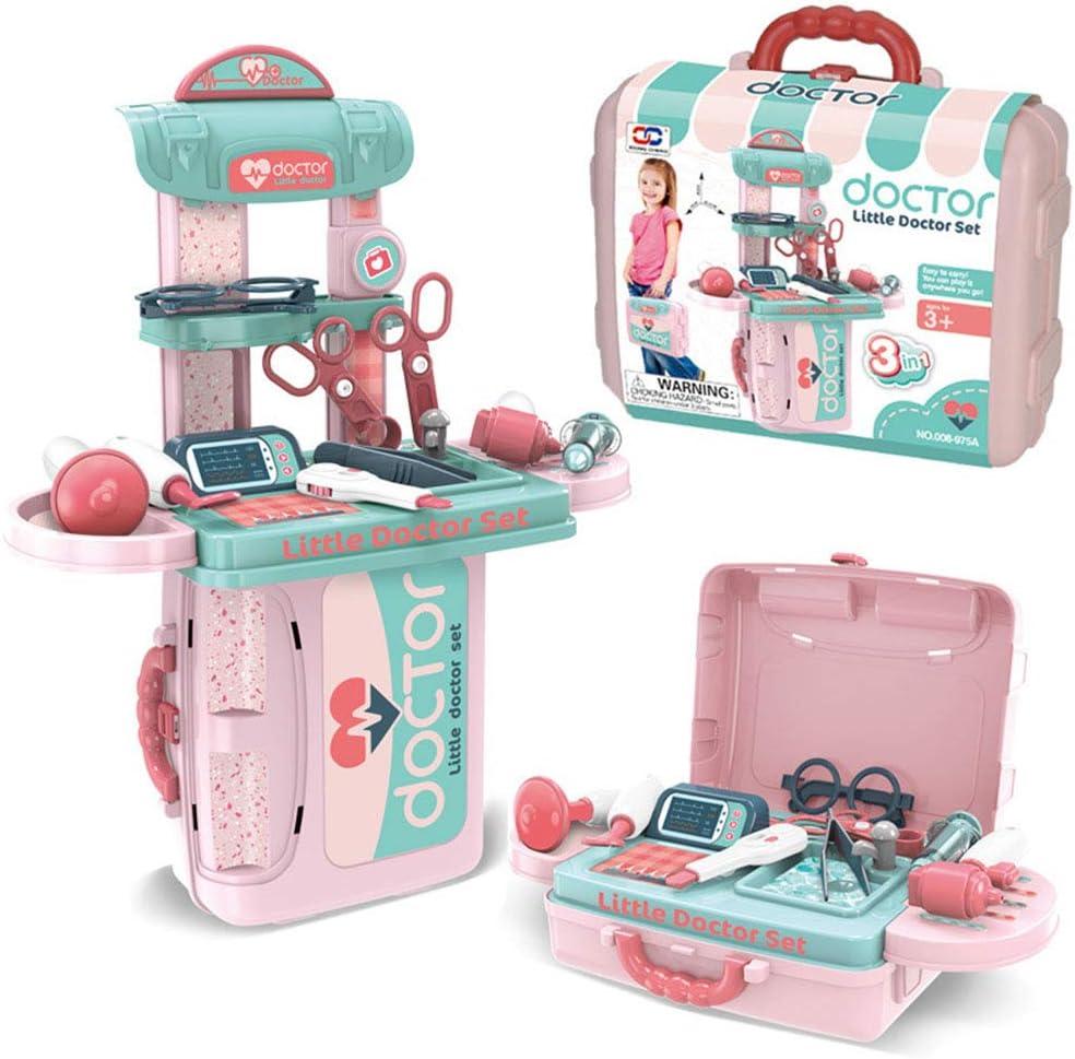 MYRCLMY Toy Kit Médico, Niños Juego De Imaginación Dentista Doctor con El Estetoscopio Kit De Juguetes Electrónicos Y Estuche De Transporte, Juegos De rol Educativo De Cocina