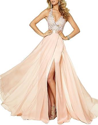 Lafee Bridal Sexy High Slit Lace Prom Dresses Long Chiffon Beaded Wedding Dress Blush Size 2