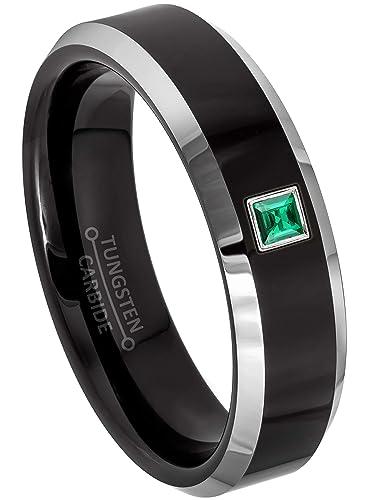 27b2fd0b493c3 0.05ctw Solitaire Princess Cut Emerald Tungsten Ring - 6MM Polished ...