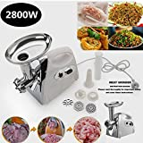 Generic tainless S Sausage Stuffer ctric M Meat Grinder Mincer er Mincer Luxury White 800W Electri Stainless Steel White Stainl 2800W Electric hite Stai