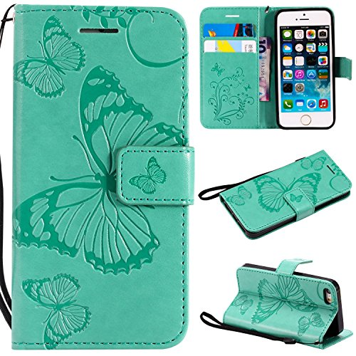 iPhone 5/5S/SE Wallet case,Ankoe Pretty Retro Butterfly Flower Design Pu Leather Book Style Wallet Flip Case Cover iPhone 5/5S/SE - S Case One Otterbox Htc