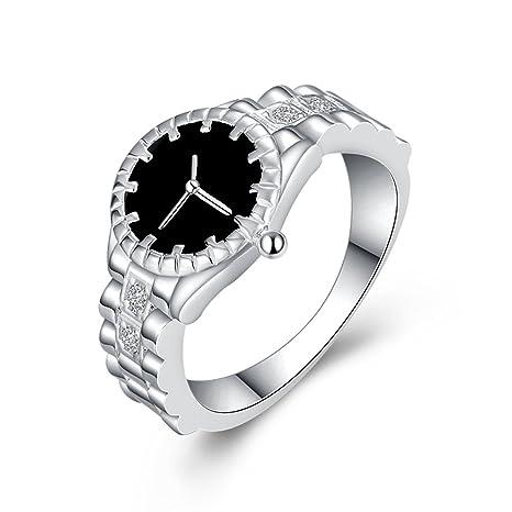 Aleación Anillo Reloj Cuarzo de Anillo de Dedo Joyería Reloj Digital para Mujer Señora