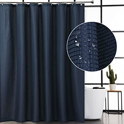 CAROMIO Navy Waffle Fabric Shower Curtain Water Repellent Mold And Mildew Resistant