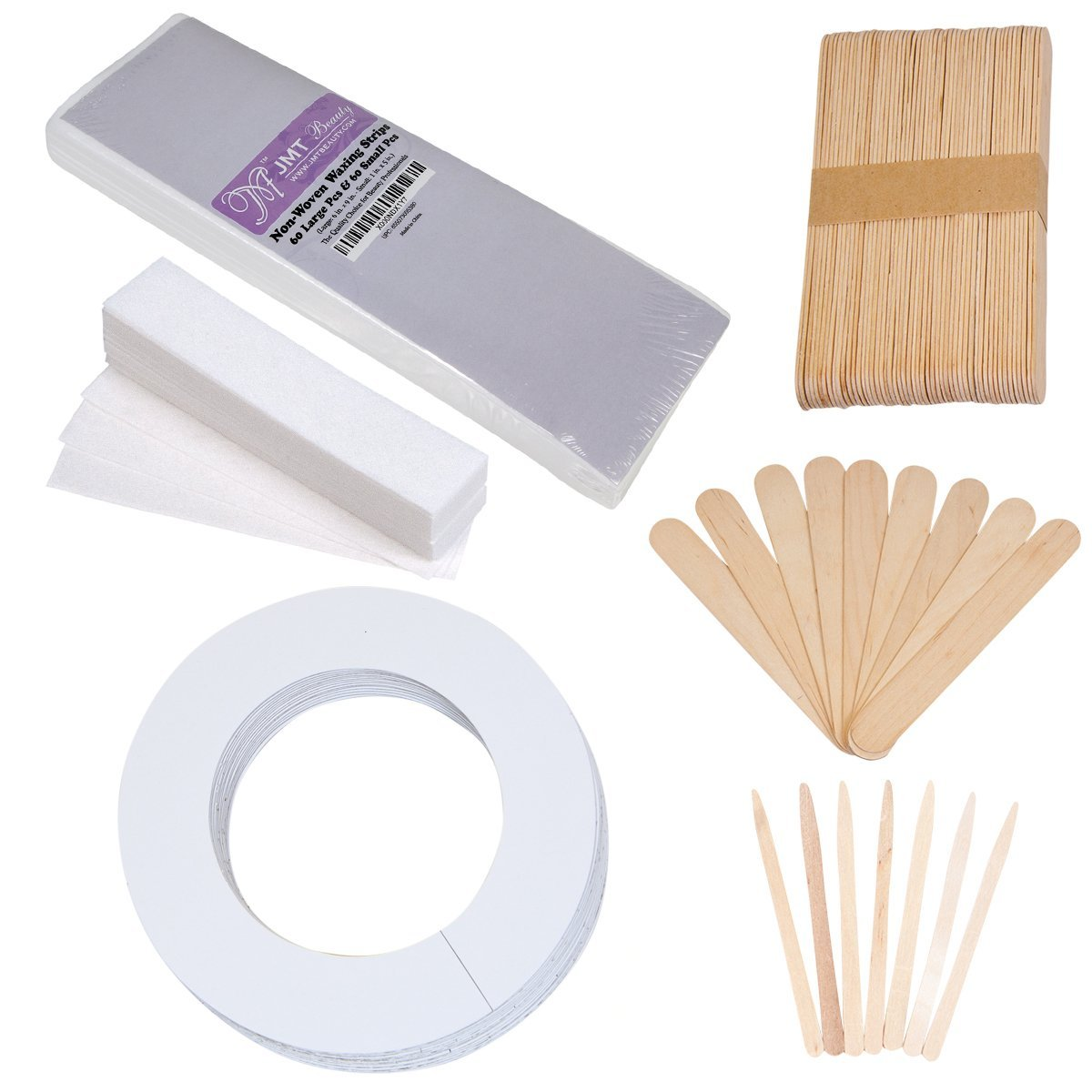 JMT Assorted Waxing Strips Kit - 60 Large 60 Small Strips and Accessories