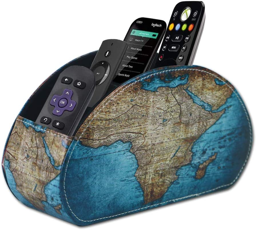 QIELIZI Remote Control Holder, PU Leather Remote Caddy Desktop Organizer with 5 Spacious Compartments for TV Remotes/Media Controllers/Office Supplies(Vintage Map)