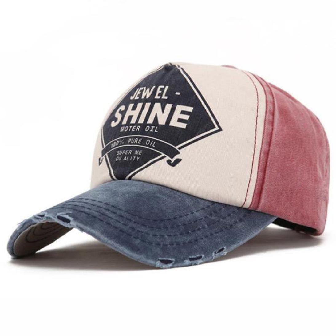 ☀ Gorra de Béisbol Unisex Algodón,Twill Snapback Colorful Impresión de la Letra Que cose el Casquillo de los Deportes del Sombrero del Sol (Azul): ...