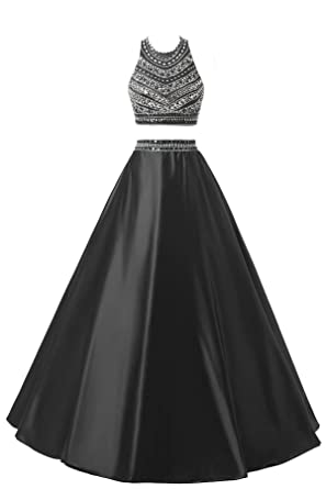 d25c53501975 Himoda Women's Two Pieces Beaded Evening Gowns Satin Sequined Prom Dresses  Long H052 0 Black