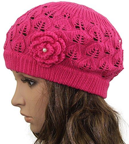 Pink Knit Beanie Hat - 1
