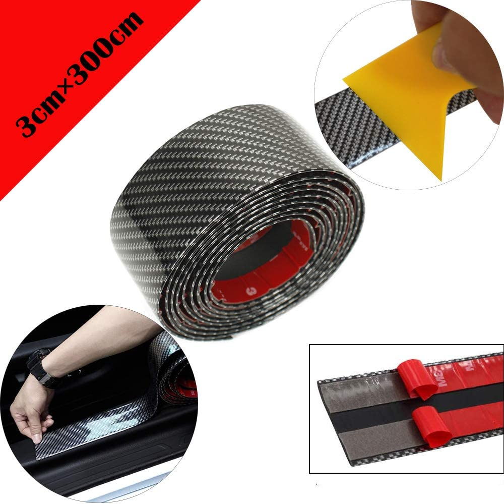 Protectores de umbral de puerta de coche de fibra de carbono universal flexible autoadhesivo para protectores de entrada de puerta de camión SUV de coche (3CMX3M Carbon Black)+ raspador amarillo