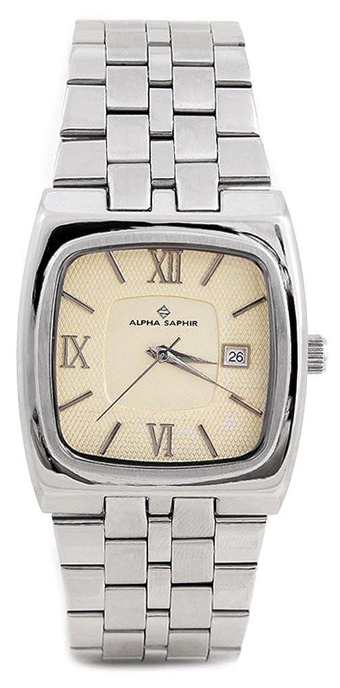 Alpha Saphir 267C - Reloj analógico de caballero de cuarzo con correa de acero inoxidable - sumergible a 30 metros