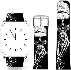 Band Compatible for Iwatch 42mm/44mm Series 1/2/3/4 / Topgraph Replacement Leather Strap Compatible for iWatch 42mm/44mm Skull Pirate in Kerchief Smoking