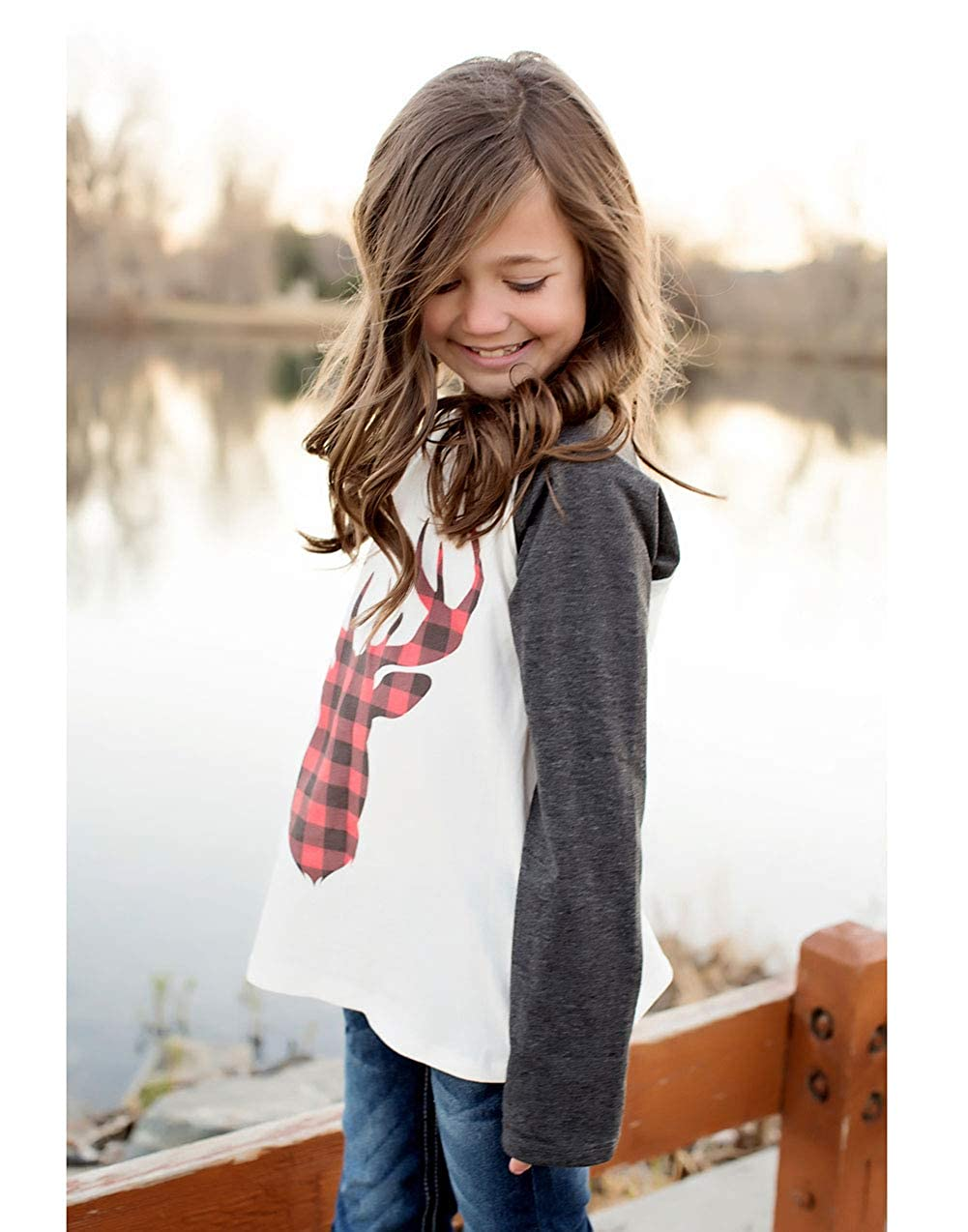 One Persent Mommy and Me Fashion Deer Print Long Sleeve T Shirt Blouse Tops Matching Family Clothes