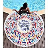 BOBIBI Thick Round Beach Towel Blanket Microfiber Yoga Mat with Tassels Ultra Soft Super Water Absorbent Multi-Purpose Towel