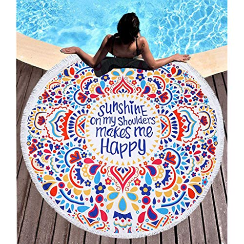 BOBIBI Thick Round Beach Towel Blanket Microfiber Yoga Mat with Tassels Ultra Soft Super Water Absorbent Multi-Purpose Towel ()