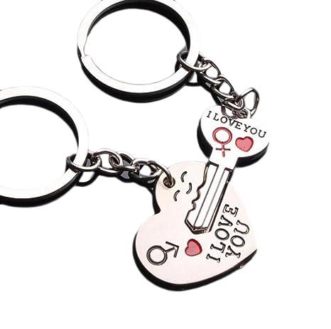 Hosaire en Llavero de Pareja Llavero - Te Amo Corazón + Llave - Regalo de Novia Amante para el día de San Valentín/Aniversario de Boda/cumpleaños