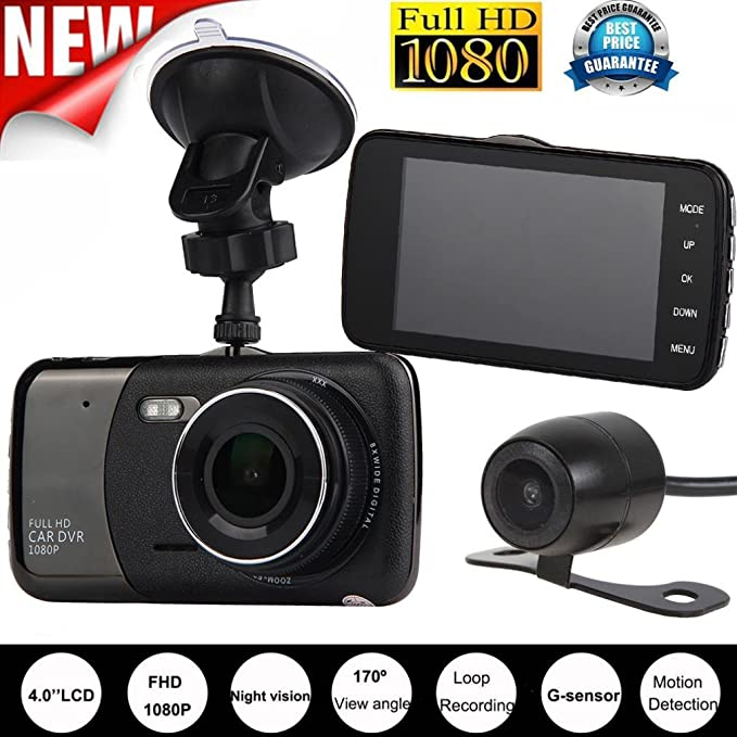 4/'/' Dual Lens Camera HD 1080P Car DVR Vehicle Video Dash Cam Recorder G-Sensor C