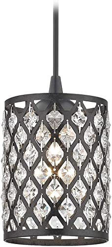 Crystal Matte Black Phoenix Cord Hung Mini-Pendant Light