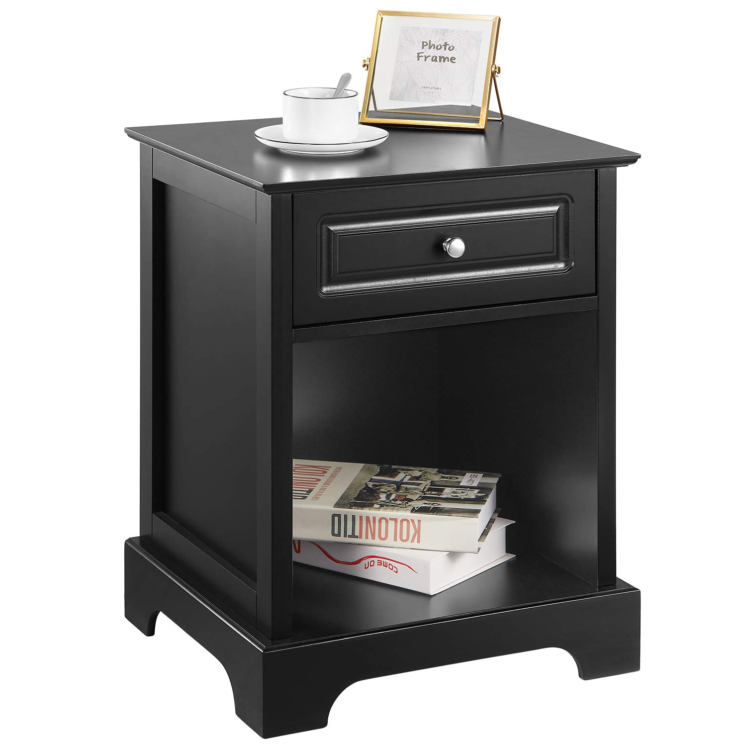 Black Nightstand for Bedroom Kealive 2 in 1 End Table with Drawer and Open Storage Shelf, Night Stand Furniture Home Style, Easy Assembly 18.1L x 15.8W x 24H by kealive