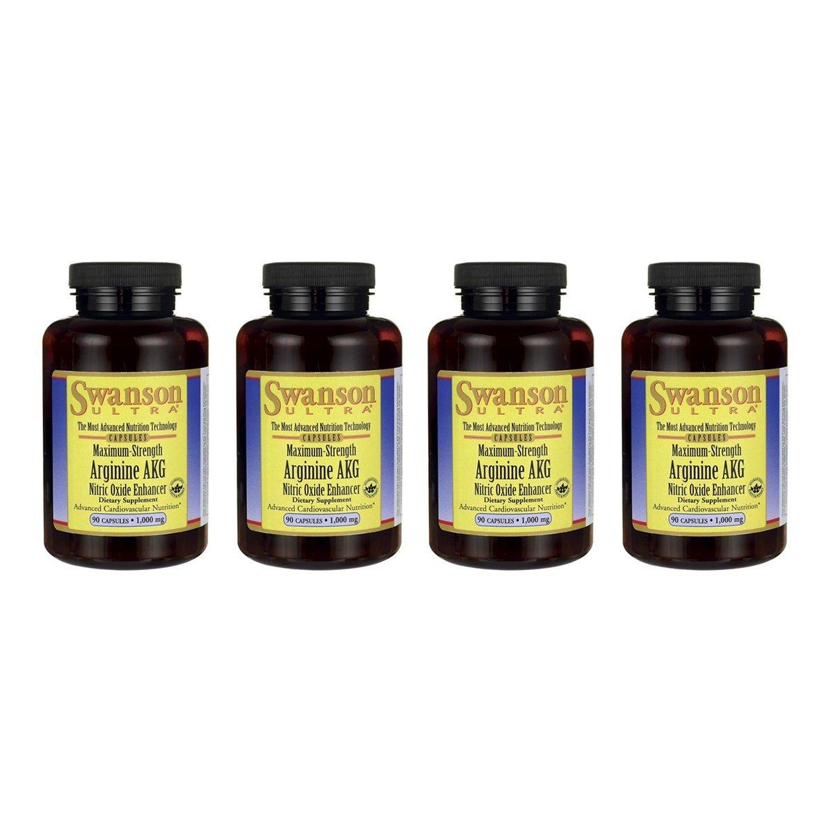 Swanson Arginine Akg 1 g 90 Caps 4 Pack