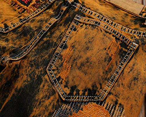 Pants Denim Regular Hombres Ripped Pantalones Mezclilla Destroyed Los Cómodo Fit De Alsbild Vaqueros Battercake Casuales Vintage aqPwvpq