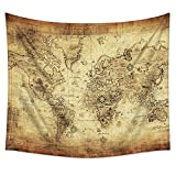 Uphome Antique Map Tapestry Wall Hanging Light-weight Polyester Fabric Wall Decor (60'' H x 80'' W, Antique Map)