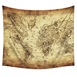 """Uphome Antique Map Tapestry Wall Hanging Light-Weight Polyester Fabric Wall Decor (60"""" H x 80"""" W, Vintage Map) 6"""