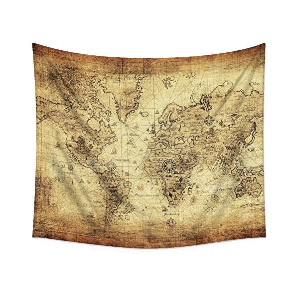 """Uphome Antique Map Tapestry Wall Hanging Light-Weight Polyester Fabric Wall Decor (60"""" H x 80"""" W, Vintage Map) 3"""