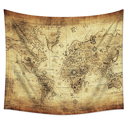"Uphome Antique Map Tapestry Wall Hanging Light-Weight Polyester Fabric Wall Decor (60"" H x 80"" W, Antique Map)"