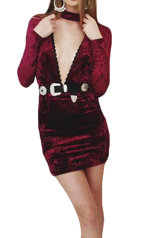 WANSHIYISHE Women's Deep-v Neck Long Sleeve Bodycon Velvet Dress