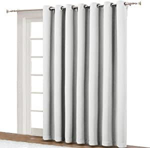 NICETOWN Sliding Door Curtains for Patio - Wide Width Thermal Drapes, Absorb Noise, Room Darkening, Vertical Blinds for Patio Door (Greyish White, Width 100 inches, Length 95 inches)