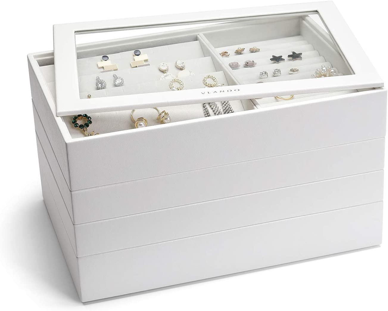 Vlando Jewelry Tray - Faux Leather Glass-top Jewelry Storage Organizer - Earring Necklace Bracelet Ring Display Desktop Drawer Chest, 4-Layer w/Clear Lid, White