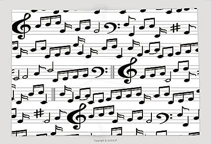 Supersoft manta de forro polar abstracto blanco y negro música Seamless Patrón con notas y sol