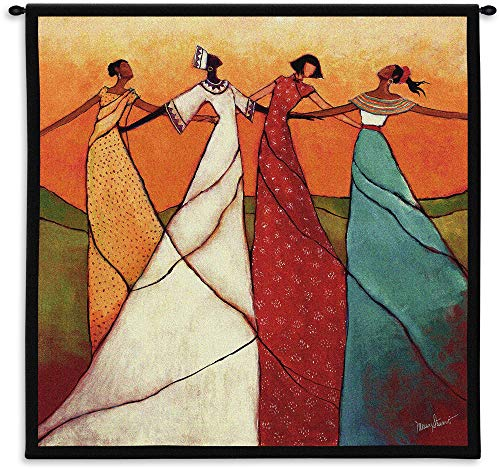 Unity by Monica Stewart | Woven Tapestry Wall Art Hanging | African Women Dancing | 100% Cotton USA Size 53x53