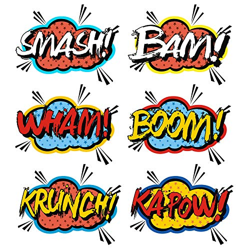 AIMIKE Superhero Stickers, Larger Superhero Theme Party Decoration Stickers, Size 8.5 Inches, Superhero Sounds Saying Cutout, 12Pcs -