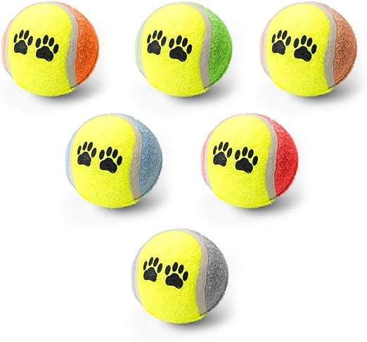 YING Pelotas de tenis juguetes para perros, pelota de goma 5 ivepets juguetes coloridos perro huellas