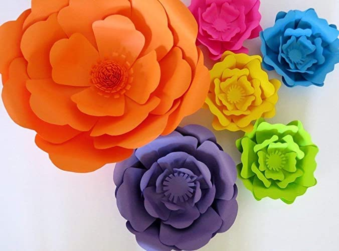 Amazon Com Set Of 6 Giant Paper Flowers Neon Color 6 16 Roses